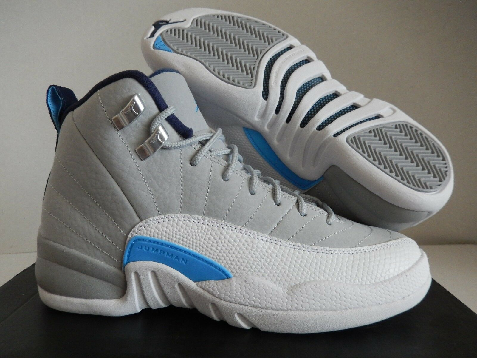 NIKE AIR JORDAN 12 RETRO BG WOLF GREY-blueE UNC SZ 4Y -WOMENS SZ 5.5 [153265-007]