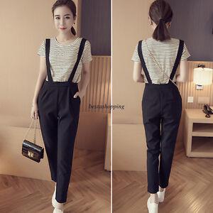 Korean Fashion Women Casual Long Pants Overalls Straps Jumpsuit