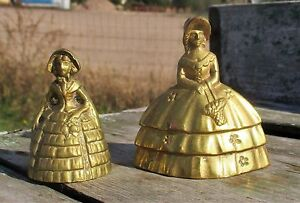2-Small-Brass-Ornate-Table-Bell-Brass-Clapper-Decorative-Victorian-Woman-Lady
