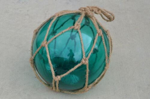 "AQUA BLUE BLOWN GLASS FLOAT FISHING BUOY BALL WITH FISHNET 12/"" SF-1029"