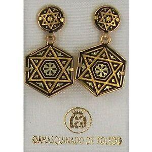 Damascene-Gold-Star-of-David-Design-Hexagon-Drop-Earrings-Midas-of-Toledo-Spain