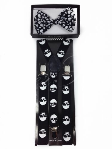 Adult Skull Pre-Tied Bowtie /& 3 Clips Suspender Combo