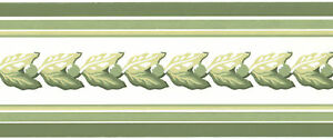 Sage-Green-Peas-White-Stripes-Leaf-Garland-Small-Wall-paper-Border