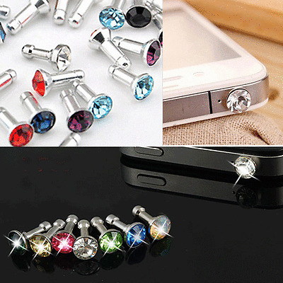 20x Crystal Bling Anti Dust Earphone Plug Ear Jack Cap Charm Fr Cell phone 3.5mm