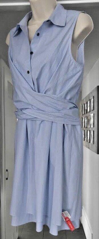 DEREK LAM 10 CROSBY COTTON WHITE blueE TIE RUFFLE 2 in 1 DRESS TOP size 8