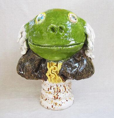 """DAVID GILHOOLY Original c.1975 Large Glazed Ceramic Sculpture - """"Frog Franklin"""""""