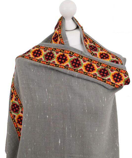 molto carino 37e4f f13e3 Warm Angora Wool Shawl Indian Embroidered Grey Pashmina Shawls Winter Scarf  Wrap
