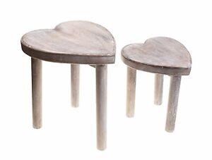 Sass-amp-Belle-Set-of-2-Heart-Shaped-Wooden-Stools-Nursery-Vintage-Stool-set