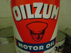 NEAR MINT ~ original 1950's era OILZUM MAN MOTOR OIL Old 1 qt. Tin Oil Can