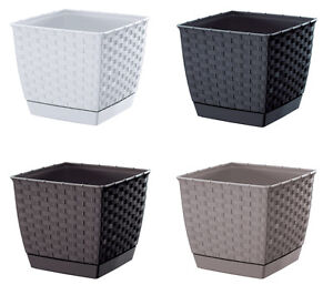 blumentopf blumenk bel rattan inkl untersetzer 4farben viele grosse neu ebay. Black Bedroom Furniture Sets. Home Design Ideas