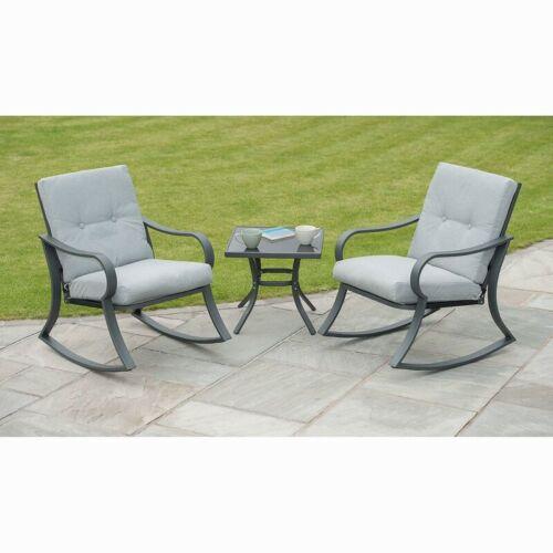 Padded Rocking Bistro Garden//Patio Furniture Set-GREY