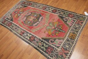 4-039-2-034-x-8-039-Vintage-Hand-Woven-Southwestern-Tribal-Turkish-Kilim-100-Wool-Area-Rug