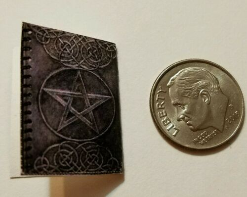 Miniature dollhouse Halloween witch spell book Barbie 1//12 Scale   Haunted Blue