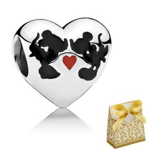 Minnie /& Mickey Kiss Charm mouse Love European charm+gift box 925 Silver Disney