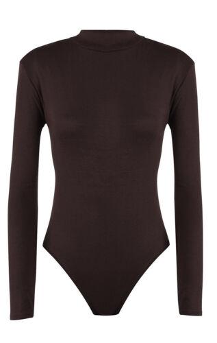 Womens Ladies Long Sleeve Plain High Polo Roll Turtle Neck Bodysuit Leotard Top