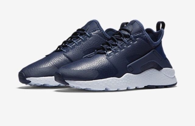 best website f8e12 bf5f9 WMNS Nike Air Huarache Run Ultra PRM Navy White Women Shoes SNEAKERS ...
