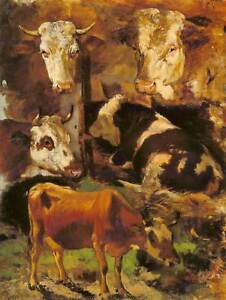 PAINTING ANIMAL STUDY LIVESTOCK CATTLE ECKENFELDER COWS ART PRINT POSTER HP1171