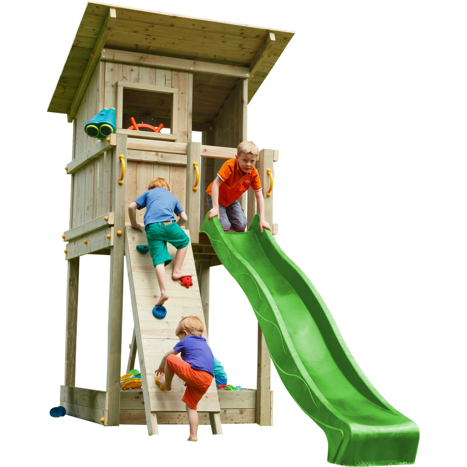Spielturm BEACH HUT mit Rutsche Kletterwand Kletterturm Holzturm Spielhaus