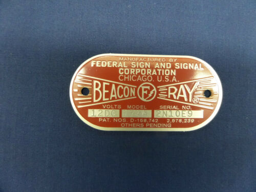 Federal Sign and Signal Model 174-A SUPER Beacon Ray Replacement Badge