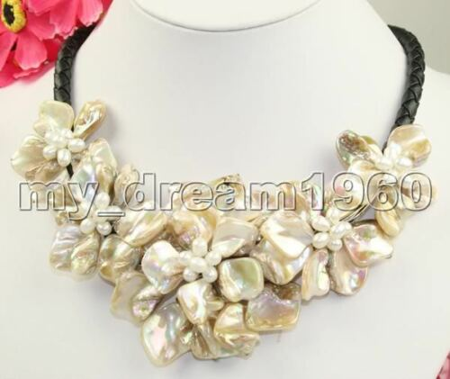 """Handmade Natural White Freshwater Pearl Mother of Pearl Shell 5 Fleurs Bib Collier 18/"""""""