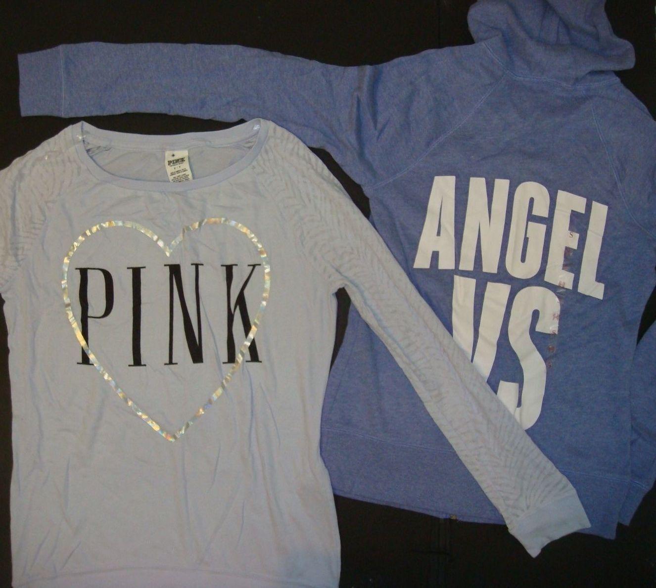 Victoria's Secret PINK S HOODIE+long-sleeve SHIRT purpleC purple white ANGEL VS
