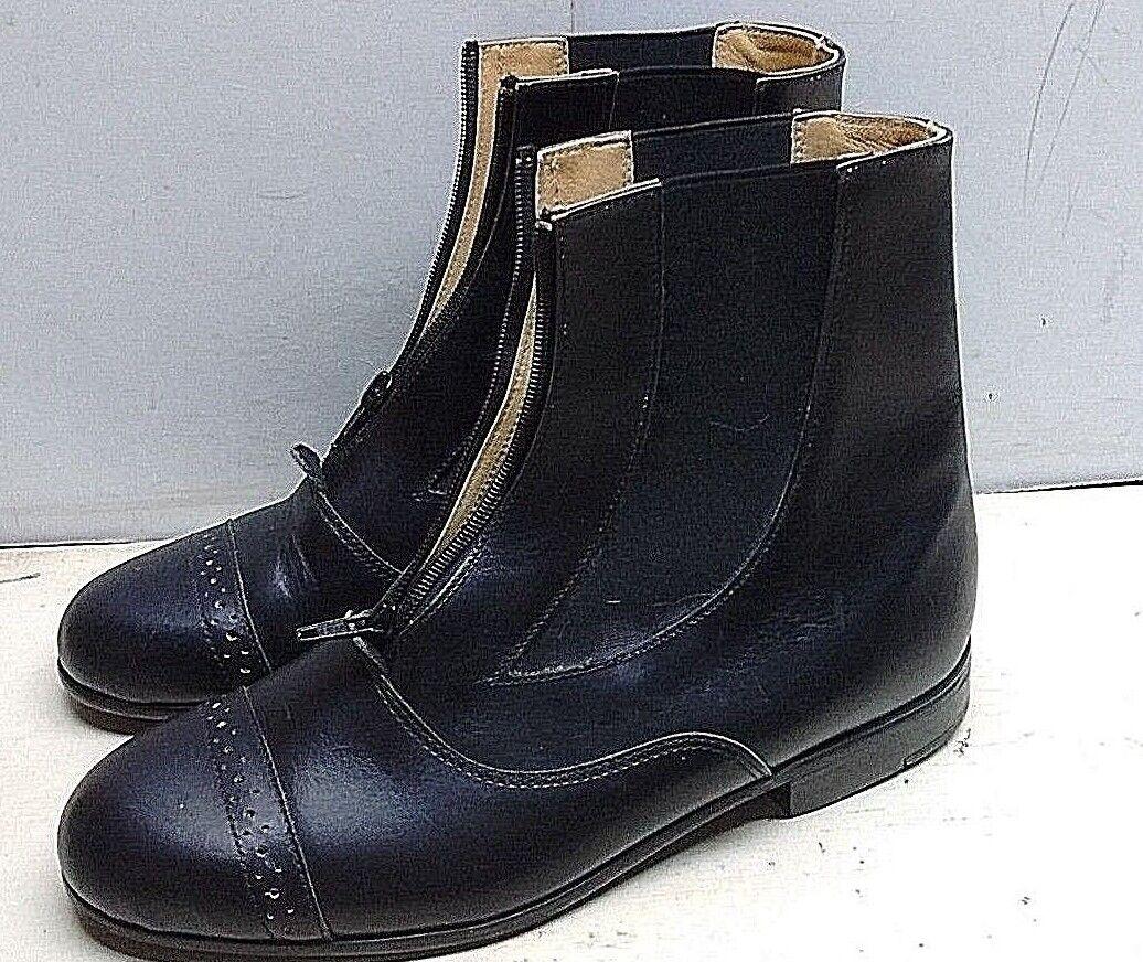 Rectiligne Women's Black Leather Horse Riding Boots Zip Ankle Casual shoes 9M 40