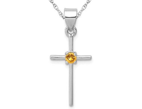 Sterling Silver Citrine Croix collier pendentif avec chaîne