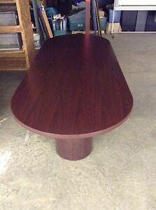USED RACETRACK Xx CONFERENCE TABLE WITH ROUND BASES BY HON - Hon racetrack conference table