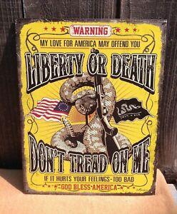 Liberty Or Death Metal Tin Sign Retro DTOM GOD Bless America Wall Decor Art Gift