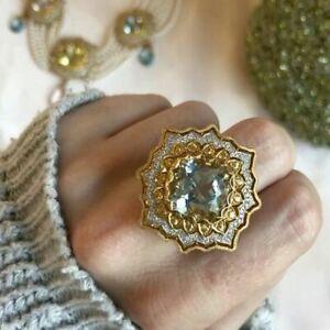 Huge-Aquamarine-Wedding-Engagement-925-Silver-Ring-Vintage-Women-Jewelry-Sz-6-10