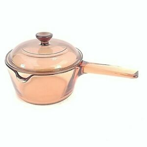 Vision Ware Sauce Pan With Lid Amber 1L Pour Spout USA Made