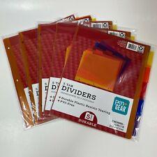 Folder Dividers 5 Tab Durable Plastic Resists Pengear 85in X 11in 25tabs 5pk
