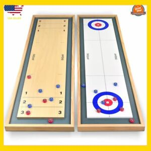 GoSports-Shuffleboard-and-Curling-2-in-1-Table-Top-Board-Game-with-8-Rollers-NEW