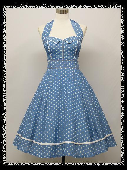 dress190 BLUE & WHITE HALTER 50's POLKA DOT ROCKABILLY VINTAGE PROM PARTY DRESS