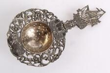 Antique Sterling Silver Tea Strainer With Ship Handle English Hallmarks