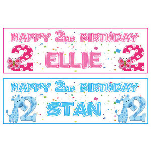 2 personalised happy 2nd birthday banners boy or girl pink or