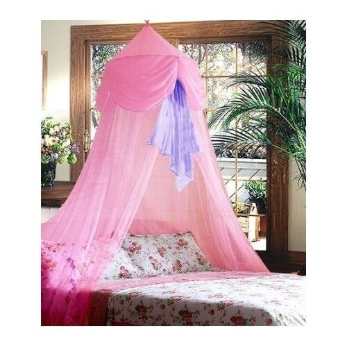 Princess Toddler Bed Canopy Crib Hanging Ceiling Girls Pink Purple Bedding