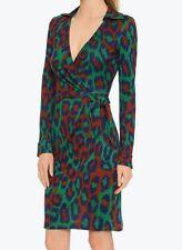 NWT DIANE VON FURSTENBERG DVF Savannah Print Silk Jersey Wrap Dress - Sz 12
