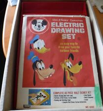 Vtg Lakeside Disney Character Electric Drawing Desk & Sheets Mickey Mouse Set