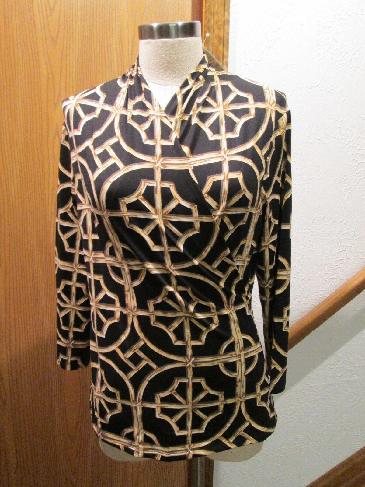 J.Mc Laughlin schwarz, Weiß & Gold Gulf 3 4 Sleeve V-Neck Knit Top Größe M
