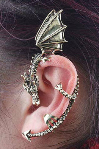 Orecchini EAR CUFF Lunghi donna trandy dark punk gothic gotico fantasy emo uomo