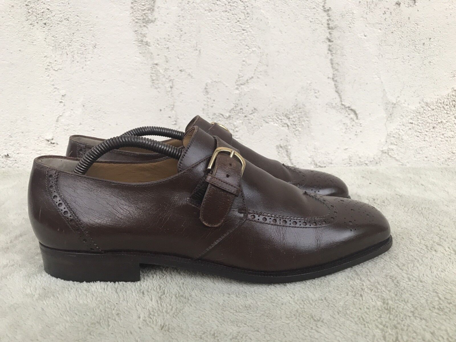RARE EUC Bally Vintage Wingtip Washed Brown Monk Strap Leather shoes Size US 8.5