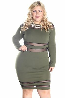 DEALZONE Rounded Neck Mesh Dress 1X 2X 3X Women Plus Size Green Cocktail