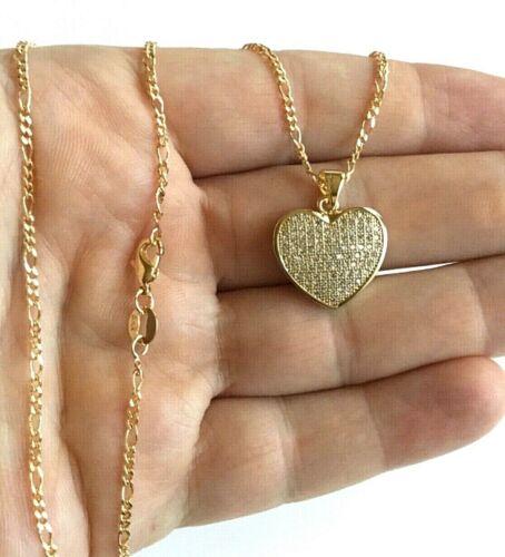 "18K GOLD FILLED HEART LOVE NECKLACE 18/"" LONG CADENA DE CORAZON 18/"" 21x19mm"