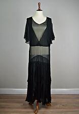 1920's/1930's Black Art Deco Silk Chiffon Evening Gown with Shoulder Cutouts