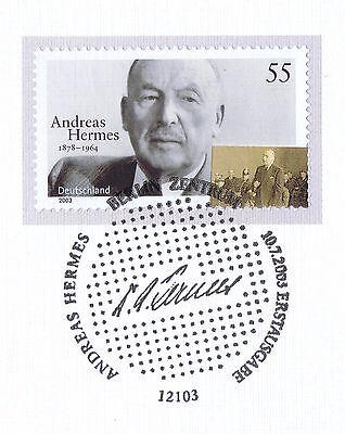Brd 2003: Andreas Hermes Nr. 2354 Mit Sauberem Berliner Ersttagsstempel! 1a 1701