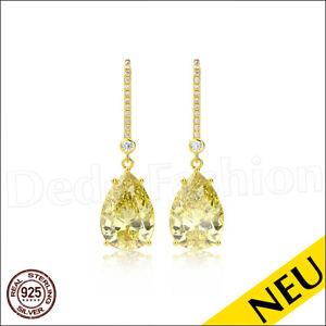 NEU-Echt-925-Sterling-Silber-CITRIN-Ohrringe-GOLD-18K-Cubic-ZIRKONIA-Luxus