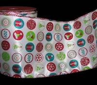 10 Yards Fun Christmas Red Blue Green Santa Hat Present Gift Wired Ribbon 5w