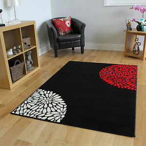 Red black ivory small large modern rugs quality soft easy - Small living room rug ...