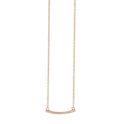 Caja De Regalo Plata esterlina 925 Placa de Oro Pave CZ Collar Ajustable de barras paralelas